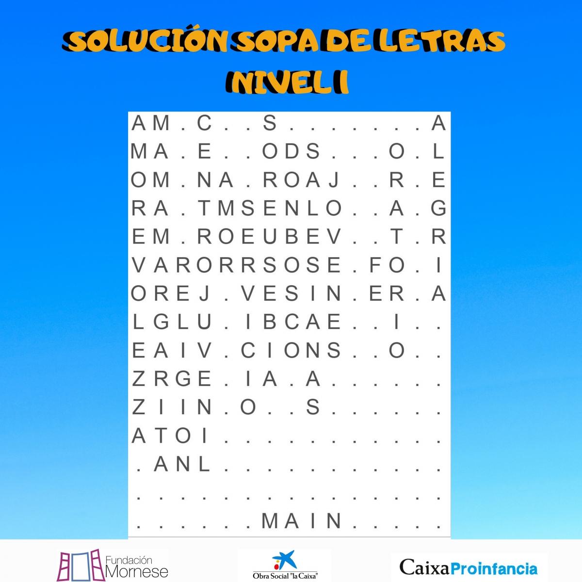 SOLUCIÓN SOPA DE LETRAS 1